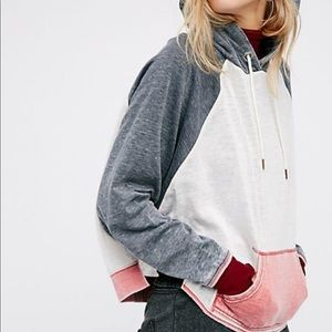 Free people color blocked hoodie size S vguc